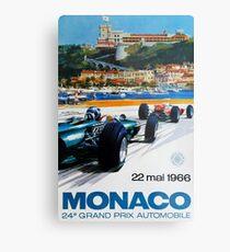 Gran Prix de Monaco, 1966, originales Vintage-Plakat Metalldruck