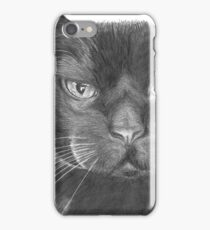 Black Cat Realistic Drawing iPhone Case/Skin