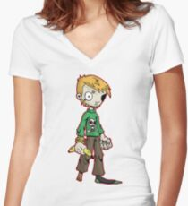 pirate boy: oliver Women's Fitted V-Neck T-Shirt