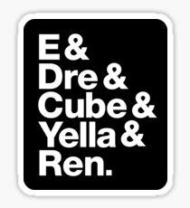 Pegatina NWA ~ E, Dre, Cube, Yella y Ren