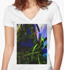 Blue and Purple Flowers with some Black and Green Women's Fitted V-Neck T-Shirt