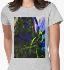 Blue and Purple Flowers with some Black and Green T-Shirt
