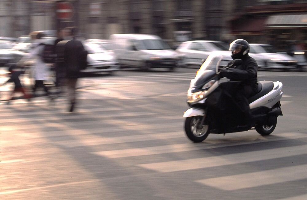 Moped in Paris by Stephen Thomas Green