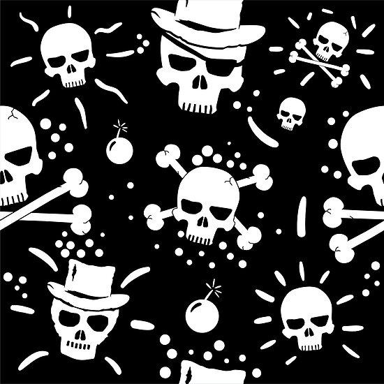 White skulls on black - premium by Richard Eijkenbroek