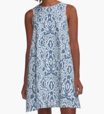 Moroccan Blue Casbah Damask A-Line Dress