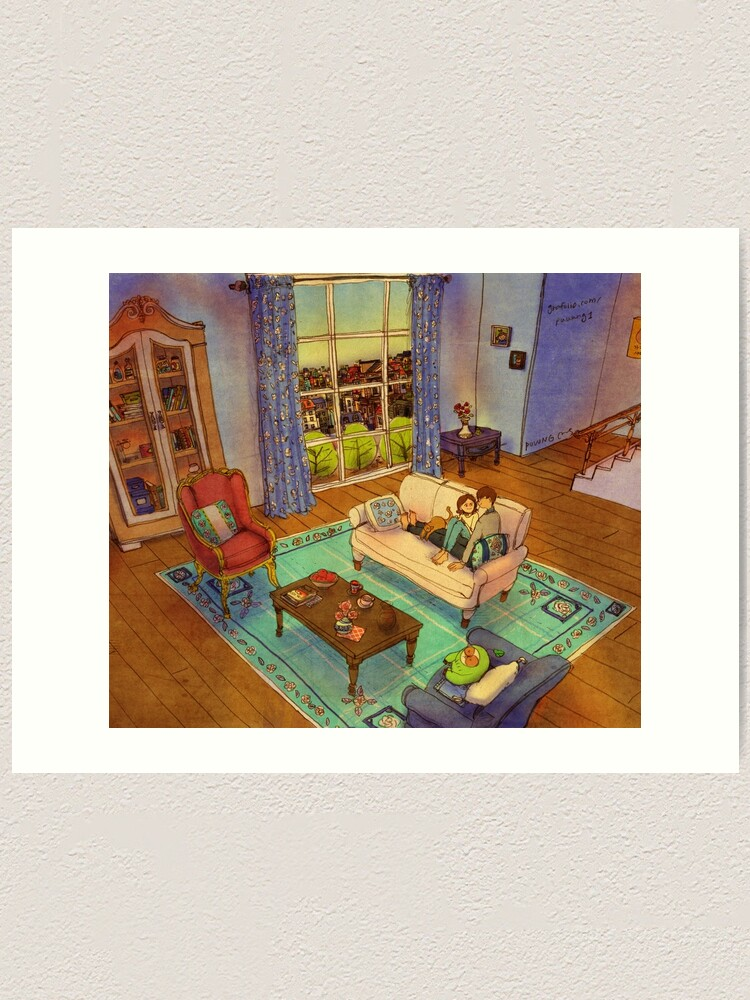 Alternate view of On the sofa Art Print