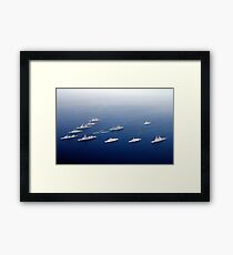 Ships and Rigid Hull Inflatable Boats assemble in formation. Framed Print