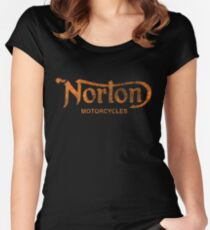 NORTON MOTORCYCLES DISTRESSED VINTAGE STYLE Women's Fitted Scoop T-Shirt