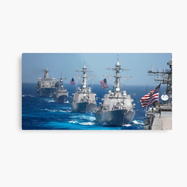 Military ships in formation at sea during Exercise Valiant Shield 2006. Metal Print