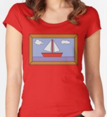 Sail Boat Artwork Women's Fitted Scoop T-Shirt