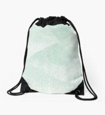 Mint Green and White Geometric Triangles Lino-Textured Print Drawstring Bag