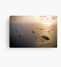 A multi-national naval force navigates the waters of the Caribbean Sea. Canvas Print