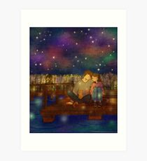 Night at the lake Art Print