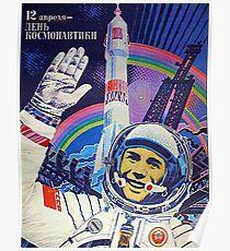 Sowjetischer Kosmonaut, Weltraumraketenstart, sowjetisches Propagandaplakat der Weinlese Poster