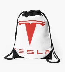 Tesla Red Logo Drawstring Bag