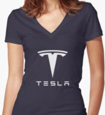 Tesla White Logo Women's Fitted V-Neck T-Shirt