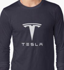 Tesla White Logo Long Sleeve T-Shirt
