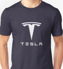 Tesla weißes Logo Slim Fit T-Shirt