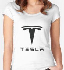 Tesla Black Logo Women's Fitted Scoop T-Shirt