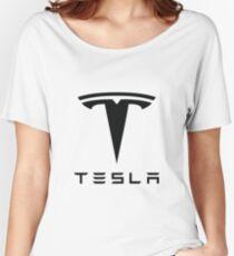 Tesla Black Logo Women's Relaxed Fit T-Shirt