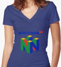 Nintendo 64 Merchandise Women's Fitted V-Neck T-Shirt