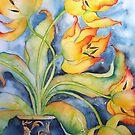 Parrot Tulips in Vintage Vase 'Still Life' © Patricia Vannucci 2008 by PERUGINA