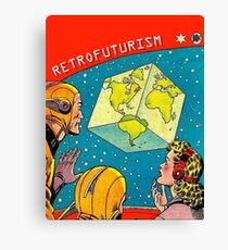 Earth became a cube, vintage sci-fi comics cover Canvas Print