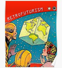 Earth became a cube, vintage sci-fi comics cover Poster