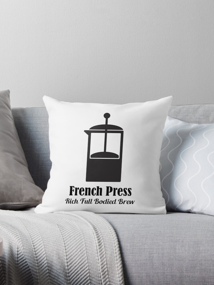 french press cold brew coffee plunger love quotes throw pillow by