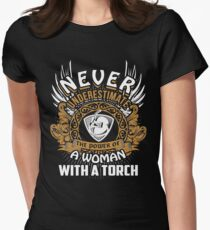 Never Underestimate A Woman Welder With A Torch Tee Womens Fitted T-Shirt