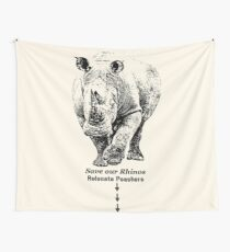 White Rhino with Anti-Poaching Message | African Wildlife Wall Tapestry