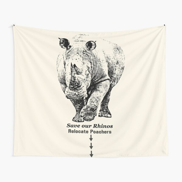White Rhino with Anti-Poaching Message   African Wildlife Tapestry