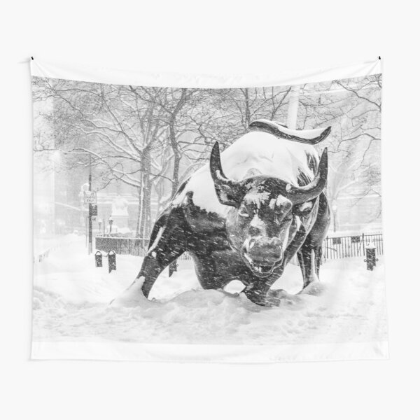 The Wall Street Bull, NYC (in the snow) Tapestry