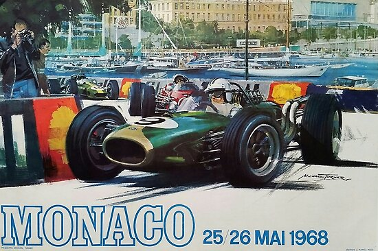 Gran Prix de Monaco, 1968, originales Vintage-Plakat von Alma-Studio