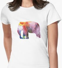 Watercolor Art -  Elephant Womens Fitted T-Shirt