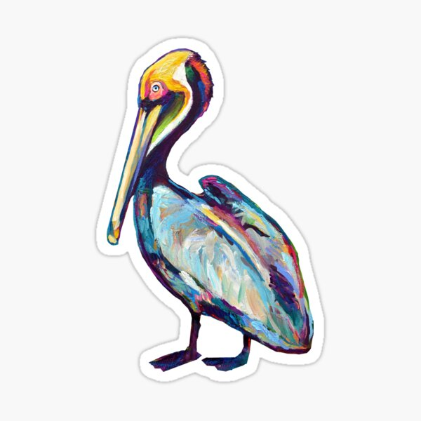 Colorful Pelican by Robert Phelps Sticker