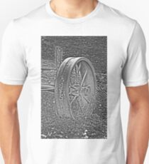 Wagon Wheel Black and White Gray Old Antique Abandoned Photograph Unisex T-Shirt