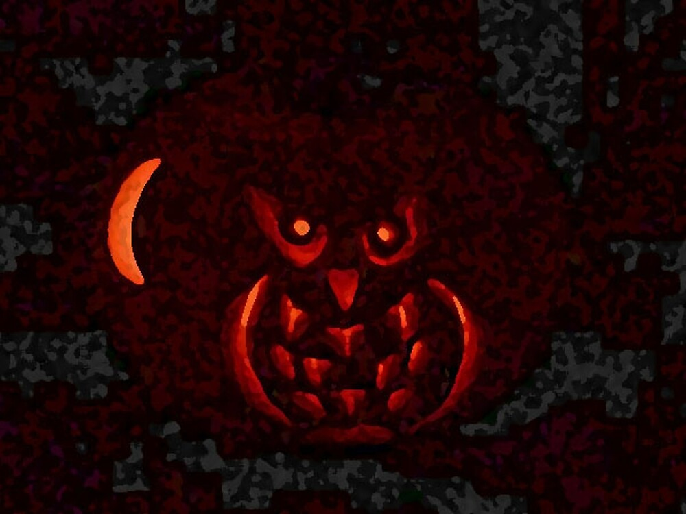Halloween Pumpkin Owl and Moon by EternalRainbow