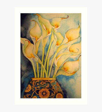Arum Lilies in Vintage Vase 'Still Life' © Patricia Vannucci 2008 Art Print