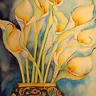 Arum Lilies in Vintage Vase 'Still Life' © Patricia Vannucci 2008 by PERUGINA