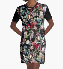 Floral and Birds IX Graphic T-Shirt Dress