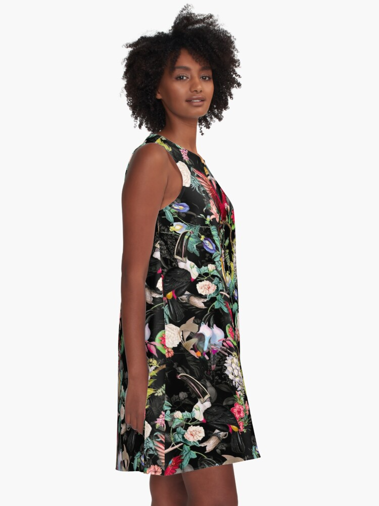Alternate view of Floral and Birds IX A-Line Dress