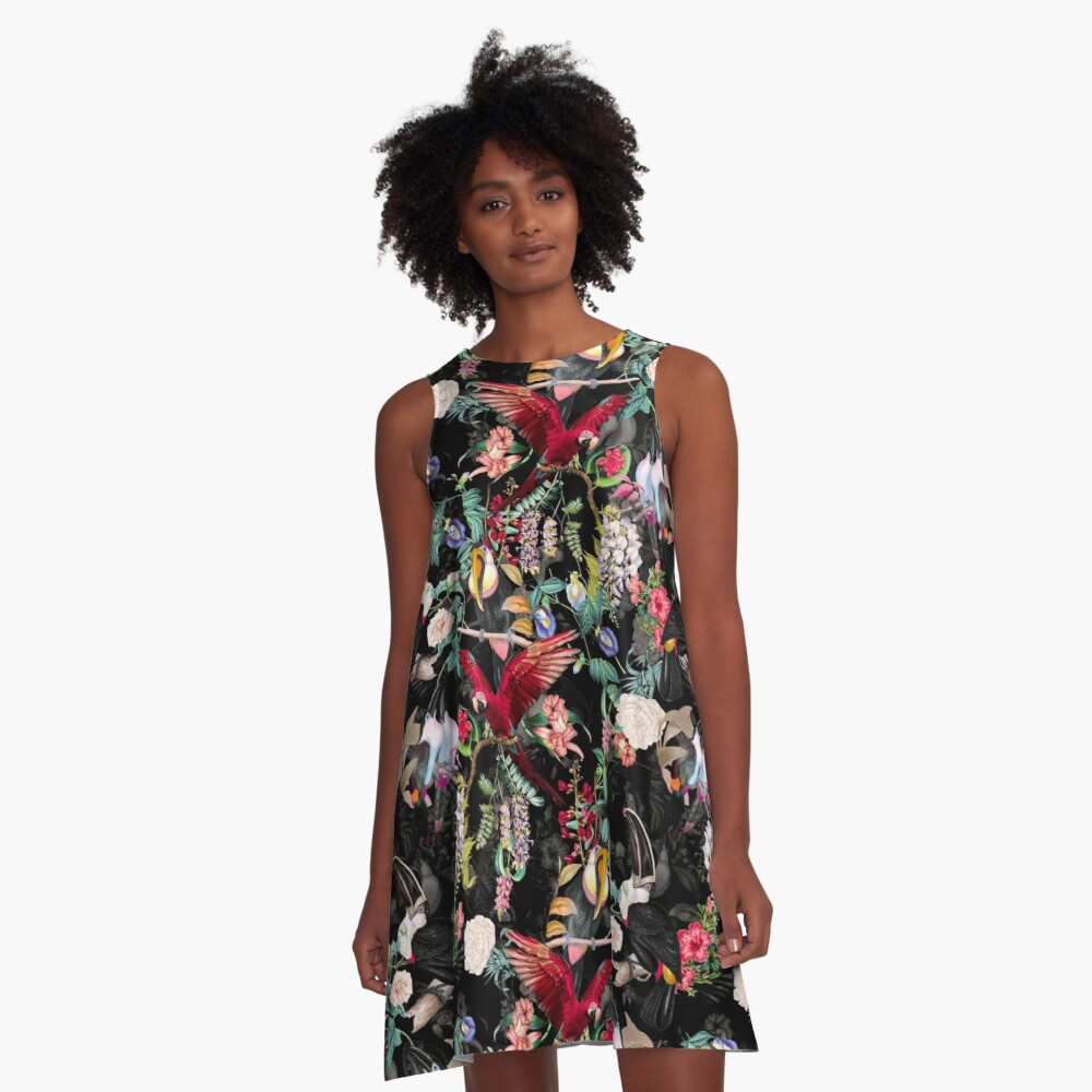 Floral and Birds IX A-Line Dress