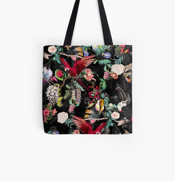 Floral and Birds IX All Over Print Tote Bag