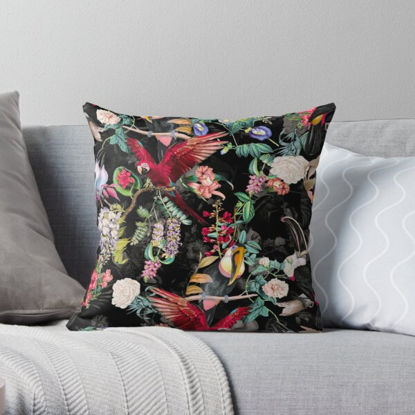 Floral and Birds IX Throw Pillow
