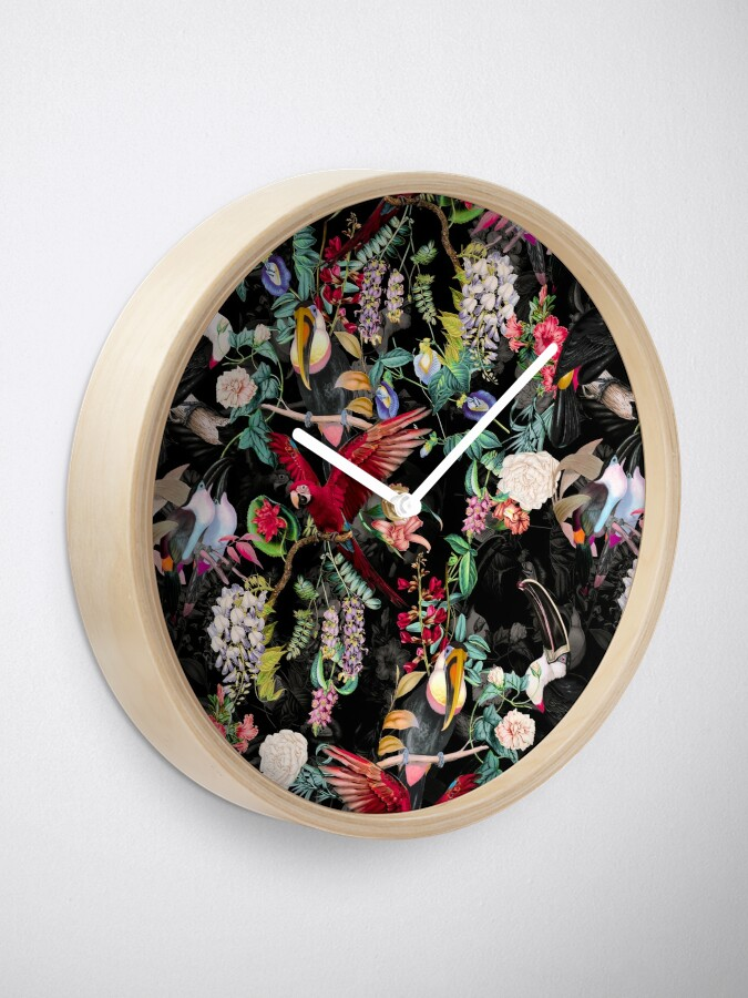 Alternate view of Floral and Birds IX Clock