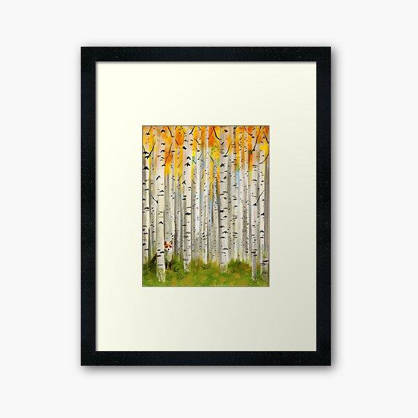 Fox in an Autumn Birch Forest Framed Art Print