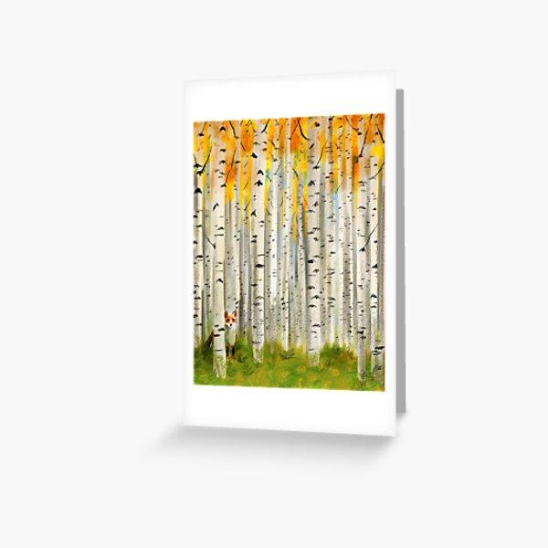 Fox in an Autumn Birch Forest Greeting Card