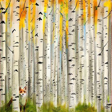 Fox in an Autumn Birch Forest by vinpauld