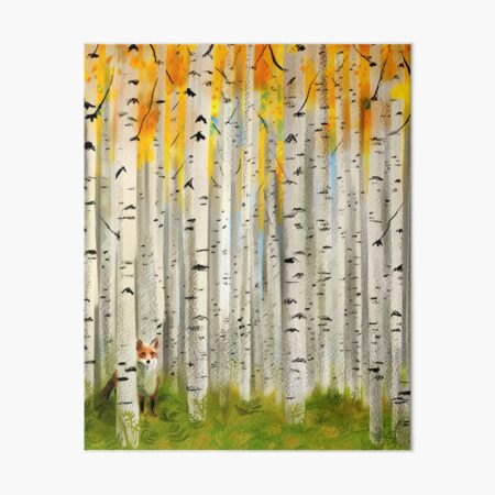 Fox in an Autumn Birch Forest Art Board Print